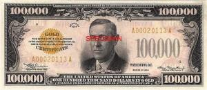 100000 bill US Wilson